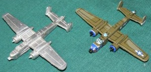 Raiden USA 24 B-25H. 1 each painted, unpainted shown. All models sold unpainted